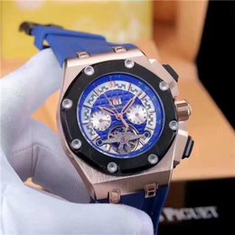 Discount rubber tourbillon - brand APAP logo tourbillon Men Watch 52mm Sport Men's Watches AAA Relogio Masculino Military Chronograph Wristwatch