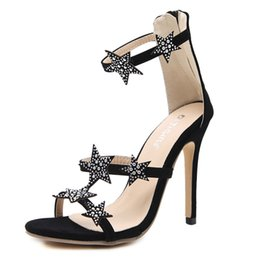 $enCountryForm.capitalKeyWord Australia - New Fashionl Women High Heel pumps open Toe Five-pointed star diamond Catwalk show style crystal sandals Sexy Lady party shoes Plus Size