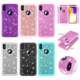 Discount iphone rubber glitter cases - Bling Glitter Diamond Shockproof Defender Case For Iphone XR XS MAX X (6 7 8)+ Sparkle Cover Armor Rugged Hybrid Hard PC