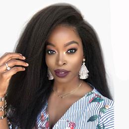 ItalIan yakI wIg brazIlIan haIr online shopping - U Part Human Hair Wigs Kinky Straight Left Side Brazilian Remy Hair Glueless Italian Yaki Upart Wig For Black Women