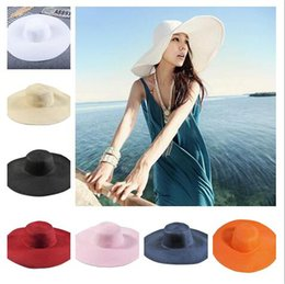 2018 Summer Women beatch straw hats Sun Hat Ladies Wide Brim Straw Hats  Outdoor Foldable Beach Panama Hats Church Hat 16colors choose ef3f208fcad2