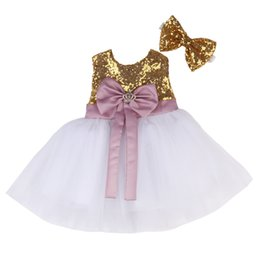 $enCountryForm.capitalKeyWord NZ - 2017 HOT Baby Kids Girls Dress Bridesmaid Wedding Party Pageant Bow Dresses Gold Formal Clothes Age 0-6T