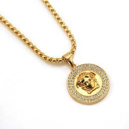 Hot face online shopping - The trumpet Top Quality Medusa Pendant Necklaces For Men Hot Hiphop Jewelry Gold Plated Luxury Accessories