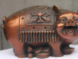$enCountryForm.capitalKeyWord NZ - SUIRONG---504+++China Red Bronze Copper Fengshui Zodiac Money Pig Attract Wealth Animal statue