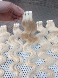 """LUMMY INDIAN REMY Hair 16"""" 18"""" 20"""" 22"""" 24"""" 100g 40pcs #613 Body Wave Tape In Hair Glue Skin Weft Hair Extension on Sale"""