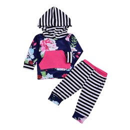 Floral Print Shirts Baby Australia - Toddler Baby Boy Girl Floral Hoodie Shirt Top 2 Pcs Pants Clothes Set Kids Long-sleeved Striped Print Suit