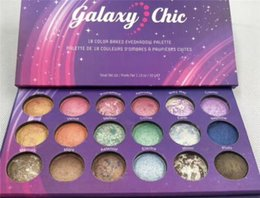 Discount shimmer glitter colorful eyes shadow - New Arrival Galaxy Chic eyeshadow Palette 18 colors Baked makeup Colorful starry sky eye shadow palettes set Cosmetics G