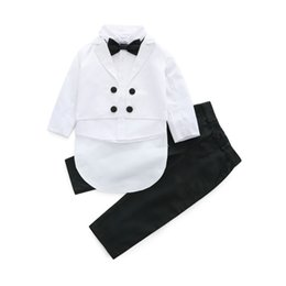 boy tuxedos UK - New Baby Boys Clothing Set Toddler Children Shirt with Swallow-tailed Coat and Pants Formal Boys Tuxedo Party Clothes