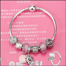 $enCountryForm.capitalKeyWord Australia - Authentic 100% 925 Sterling Silver Springtime Dangle Radiant Bloom Charm Pink Glass Bead Bangles & Bracelet for Women Jewelry Original Gift