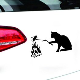 Stickers Mouse NZ - 11*20cm Cat Roast Mouse Funny Car Stickers Decals For Automobiles Motorcycle Cars Styling Vinyl Car Decoration Sticker