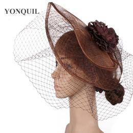 Vintage headpieces hats online shopping - Vintage wedding bridal fascinator women party tea hats elegant ladies church cocktail hair accessories race kenducky derby headpiece SYF469