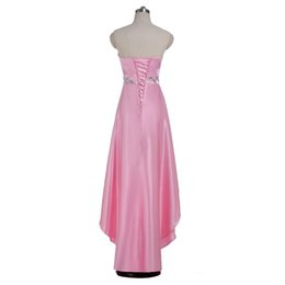 China High Low Pink Stain Beades Crystal Long Prom Dresses Sweetheart With Lace Up Back Evening Gown Formal Party Wear cheap beades dress suppliers