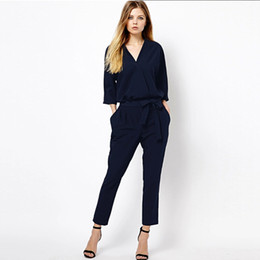 High Quality Jumpsuits Australia - Womens Fashion New Solid Color Playsuit Elegant Females Blue Long Trousers Regular Rompers High Quality Women Jumpsuit Female OL