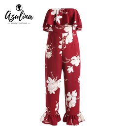73f5332ef37 20187 AZULINA Rufffled Floral Print Bandeau Jumpsuit Women Rompers Causal  Loose Strapless Long Playsuits Summer Girls Clothes Overalls