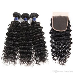 Cheap Virgin Human Hair Extensions Australia - Unprocessed yucan Hair With Closure Deep Wave Cheap Romance Hair Extensions Virgin Brazilian Peruvian Human Hair Weaves Bundles Lace Closure