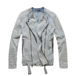 $enCountryForm.capitalKeyWord NZ - mens Moto Zippers Painted Oiled Stretch Blue Washed Jacket Mens Embroidery Graffiti pattern splash-ink Tiger Moto Biker Denim pattern jeans