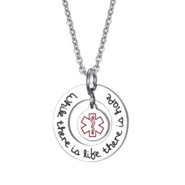 medical alert jewelry UK - Exclusive Medical Alert ID Necklaces Pendants for Women Jewelry 25MM Titanium Stainless Steel Round Necklace For Women