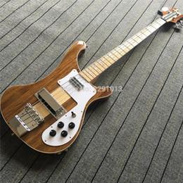 Vente en gros RARE RIC TRANSLUCENT NOYER Vintage 4000 4001 4003 4 cordes électrique basse guitare érable manche à travers le corps un corps de cou PC, double sortie Jacks