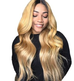 blonde body wave full lace UK - Honey Blonde Lace Front Wig Glueless Full Lace Wigs Human Hair Ombre Wig Black Roots 1B 27 Body Wave Brazilian Virgin Hair