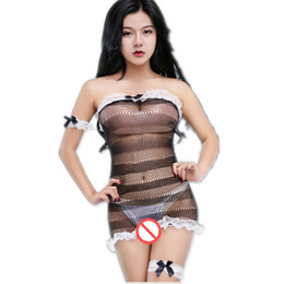 porn women costume 2019 - Sexy Lingerie Fishnet Dress Maid Uniform Sexy Costumes Cosplay Slash Neck Summer Dress Open Bra Open Crotch LACE underwe