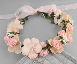 Discount white lace rose bow headband - Girls flower crown wreath boutique stereo rose for kids designer headbands child lace flowers ribbon Bows princess hair