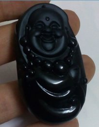 $enCountryForm.capitalKeyWord Canada - 100% beautiful Chinese Black Natural A Obsidian Carved maitreya pendant
