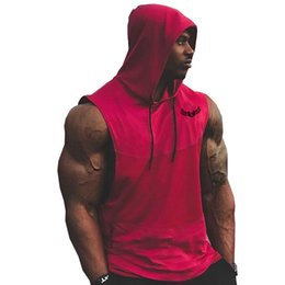 China Diliflyer Men Cotton Sleeveless Hoodies Sweatshirts Male Gyms Fitness Bodybuilding Workout Hooded Vest Casual Fashion Sportswear cheap bodybuilding sweatshirts suppliers