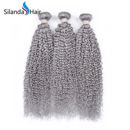 kinky curly weaving hair Canada - Grey Kinky Curly Hair Weft Weave Remy Human Hair Bundles 3pcs lot Free Shipping