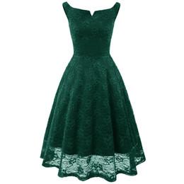 $enCountryForm.capitalKeyWord UK - Women casual vintage dress elegant evening party midi dress female backless hollow out empire slash neck sleeveess lace dress