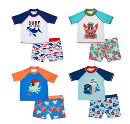 trunks boy swimsuit Canada - Boy Summer Sea Animal Print Swimsuit Two Pieces Baby Polyester Swimwear Kids Summer Sun-Proof Swim Trunks Clothes Baby Clothing AM 004