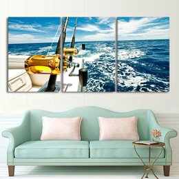 one living room 2019 - Canvas Wall Art Pictures Framework 3 Pieces Yacht Blue Sea Seascape Paintings Living Room Home Decor Prints Fishing Rod
