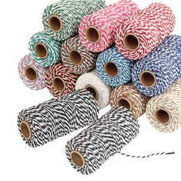 Pack Supplies Australia - 14 Colors 100 Meters 2 Ply Cotton Twine String Cord Rustic Country Craft Making Rope for Garment Accessories Packing Supplies
