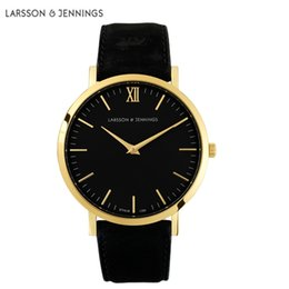 Chinese  Relogios larsson jennings Clock new best-selling fashion leather strap watch 40mm Black Watches For Men and Women Montre Lj wristwatch manufacturers