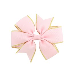 China 12Colors 3Inch Baby Girls Grosgrain Whorl DIY Barrettes with Double Gold Thread Edge Bowknot Hair Clip Kids Flower Hairpin H11 cheap baby hair edges suppliers