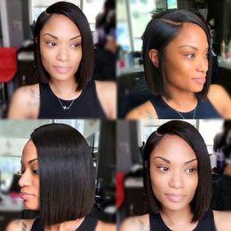 $enCountryForm.capitalKeyWord Australia - 130% Density Peruvian Bobo Straight Human Hair Wig Medium Brown 8''-16'' Available Lace Frontal Wig 100% Remy Hair Wig For Black Women