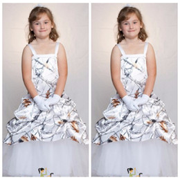 white silver kids dress NZ - 2018 Spaghetti White Snowfall Camo Flower Girls Dresses Cute Formal Kids Party Gowns For Wedding Birthday Wear Princess Custom Dress Girl