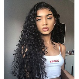 Discount synthetic lace wig fiber - Free Shipping Synthetic Lace Front Wig Natural Black Kinky Curly Layered Haircut 180% Density Heat Resistant Fiber Hair