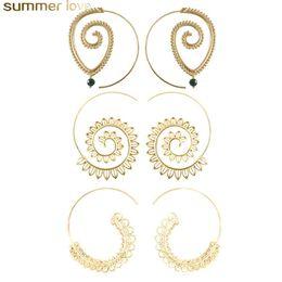 720c42859751 Unique design 3 Pair Set Spiral Hoop Earrings Set For Women Big Vintage  Tribal Swirl Dangle Earrings Decorative Jewelry Set