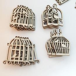$enCountryForm.capitalKeyWord Australia - 50PCS  set Laser Cut Bird Cage Shape Craved Wooden Craft Accessories Hanging Ornaments DIY Decorations Unfinished Wood Supplies