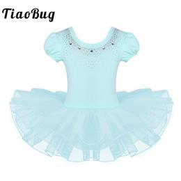 Discount sparkly tutus - TiaoBug 2-8 Years Kids Girls Mesh Short Bubble Sleeve Sparkly Rhinestones Ballet Dance Gymnastics Leotard Ballerina Tutu