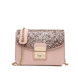 Chain Strap Messenger Bag Canada - 2018 Fashion Women Sequined Messenger Bag Quality Leather Women's Flap Bag Chain Strap Female Shoulder Lay Crossbody Bags
