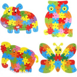 Wood Animal Figured Toys UK - Cute Animal Alphabet Jigsaw For Children Wooden Puzzle Toy Gift Many Styles Hot Sale