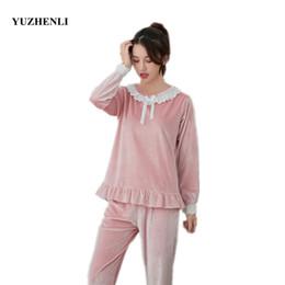 Women Velvet Clothes Australia - Female Autumn Winter New Velvet Pajamas Set Round Neck Lace Bow Home Clothes Women Fashion Nightgown Pyjamas Suit Plus M-XXL
