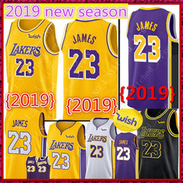 23 James Lakers Trikot 2019 Los Angeles Lakers LeBron James neue Saison Trikots 18 19 Schwarze Stadt Basketball Jerseys Gold Gelb Weiß Lila