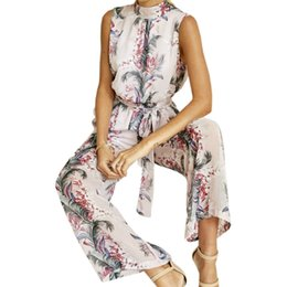fac9023aca48 2019 New Floral Printed Boho Jumpsuits Rompers Sexy Backless Sleeveless  Women Chiffon Jumpsuit Long Wide Leg Pants Female GV479