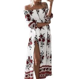 00ec80e61 Bohemian Sundress 2018 Women Floral Printed Split Maxi Dresses Vintage  Slash Neck Beach Loose Summer Long Ukraine GV691