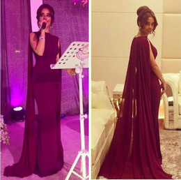 celebrity maternity evening dress images Canada - Myriam Fares Celebrity Dresses 2018 Burgundy Mermaid Saudi Arabic Evening Dress with Watteau Train Dubai Prom Party Gowns