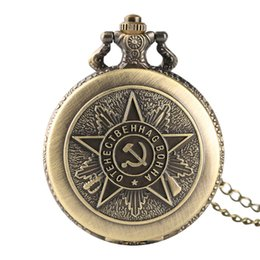pocket watches for 2018 - Steampunk Soviet Sickle and Hammer Design Vintage Men Women Pocket Watch for Fobs Clcok Antique Russia Day Gifts with Ne
