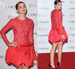 red long cocktail dress NZ - Emma Watson Red Lace Cocktail Prom Dresses Red Carpet Dress Jewel Illusion Bodice Long Sleeves Short Mini Party Gowns