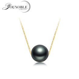 TahiTian pearls 18k online shopping - Wedding Gold Jewelry Pendant Necklace Black Round Tahitian Pearl Women Anti Allergic K Gold Necklace Luxury Anniversary Gift